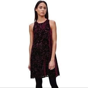 Aritzia Wilfred Trompette Burgundy Velvet Burnout Mini Dress XS